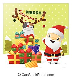 Merry Christmas Greeting card with Santa Claus 2