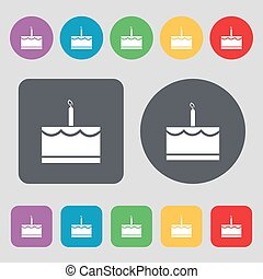 Birthday cake icon sign. A set of 12 colored buttons. Flat design. Vector