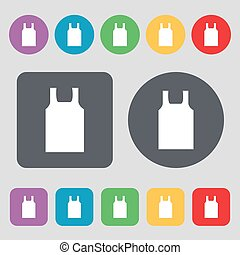 Working vest icon sign. A set of 12 colored buttons. Flat design. Vector