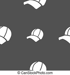 Ball cap icon sign. Seamless pattern on a gray background....
