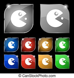 pac man icon sign. Set of ten colorful buttons with glare. Vector