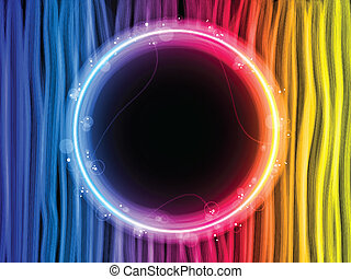 Abstract Rainbow Lines Background with Black Circle - Vector...