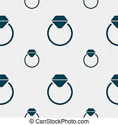 Diamond engagement ring icon sign. Seamless pattern with...