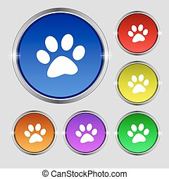 paw icon sign. Round symbol on bright colourful buttons. Vector