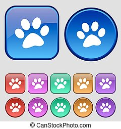 paw icon sign. A set of twelve vintage buttons for your...