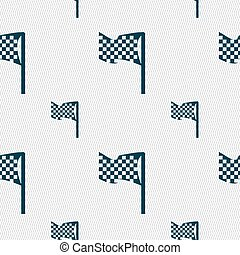 racing flag icon sign. Seamless pattern with geometric...