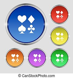 card suit Icon sign. Round symbol on bright colourful...