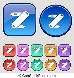 Pocket knife icon sign. A set of twelve vintage buttons for...
