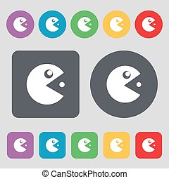 pac man icon sign. A set of 12 colored buttons. Flat design. Vector
