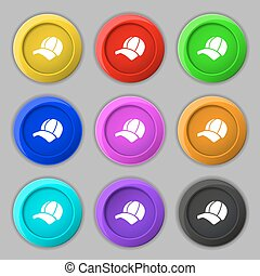 Ball cap icon sign. symbol on nine round colourful buttons....
