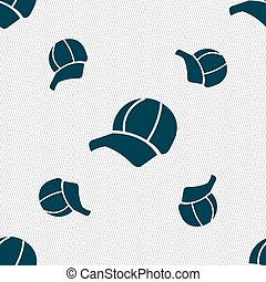 Ball cap icon sign. Seamless pattern with geometric texture....