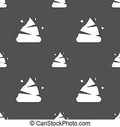 Poo icon sign. Seamless pattern on a gray background. Vector...