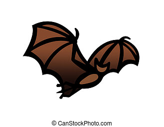 Bat in flight clipart - Simple drawing illustration clipart...