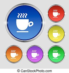 Coffee cup sign. Round symbol on bright colourful buttons. Vector