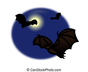 Bats flying around the full moon - Simple drawing...