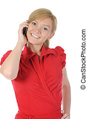 Young woman talking on the phone. Isolated on white...