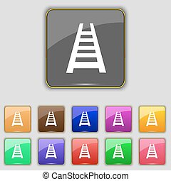 Railway track icon sign. Set with eleven colored buttons for your site. Vector