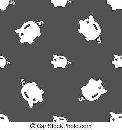 Piggy bank icon sign. Seamless pattern on a gray background....