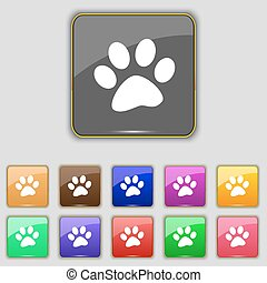paw icon sign. Set with eleven colored buttons for your...