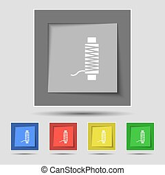 Thread Icon sign on original five colored buttons. Vector