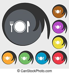 Plate icon sign. Symbols on eight colored buttons. Vector