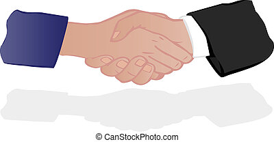 Vector illustration hand shake of partners of the man and...