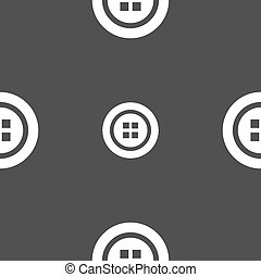 Sewing button sign. Seamless pattern on a gray background....