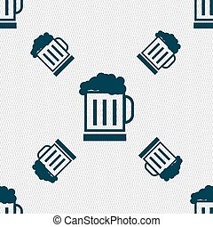 Beer glass icon sign. Seamless pattern with geometric...