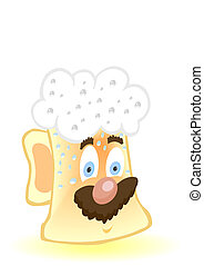 Vector illustration of a cheerful glass with beer