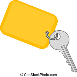 Vector illustration a metal key with a yellow charm