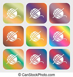 Yarn ball icon sign. Nine buttons with bright gradients for beautiful design. Vector