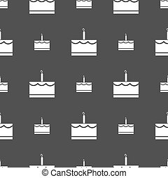 Birthday cake icon sign. Seamless pattern on a gray background. Vector