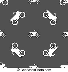 Motorbike icon sign. Seamless pattern on a gray background. Vector