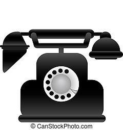 Vector illustration black classical phone on a white...