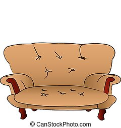 brown sofa is isolated