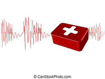 Vector illustration the cardiogram with the first-aid set on...