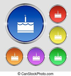 Birthday cake icon sign. Round symbol on bright colourful buttons. Vector