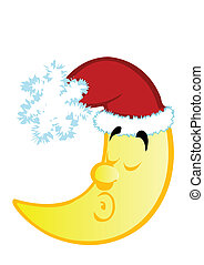Vector illustration of the Christmas moon on a white...