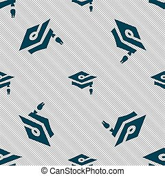 Graduation icon sign. Seamless pattern with geometric texture. Vector