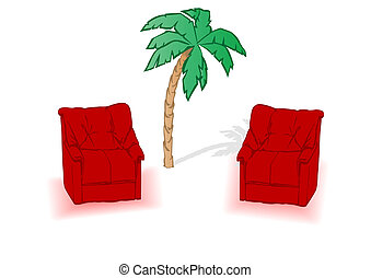 Red sofa is isolated