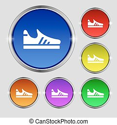 Running shoe icon sign. Round symbol on bright colourful buttons. Vector