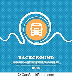 Bus icon sign. Blue and white abstract background flecked...