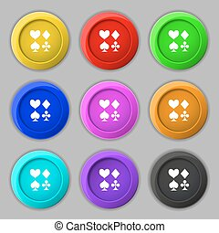 card suit Icon sign. symbol on nine round colourful buttons....