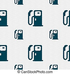 Fuel icon sign. Seamless pattern with geometric texture....