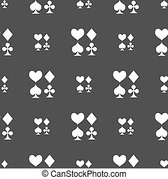 card suit Icon sign. Seamless pattern on a gray background....