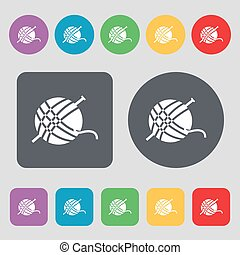 Yarn ball icon sign. A set of 12 colored buttons. Flat design. Vector