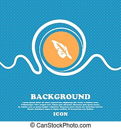 Feather icon sign. Blue and white abstract background flecked with space for text and your design. Vector