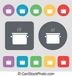 pan cooking icon sign. A set of 12 colored buttons. Flat...