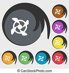 Fan Icon sign. Symbols on eight colored buttons. Vector...