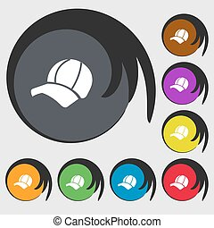 Ball cap icon sign. Symbols on eight colored buttons. Vector...